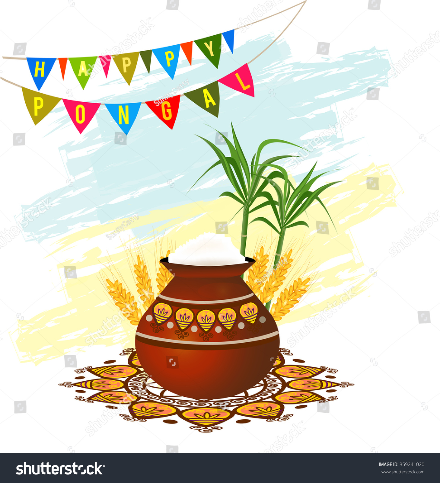 Happy Pongal South Indian Harvesting Festival Stock Vector Royalty