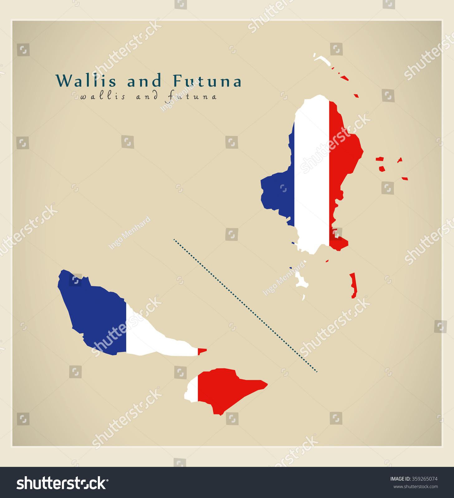Modern Map Wallis Futuna Flag France Stock Vector - Wallis and futuna map