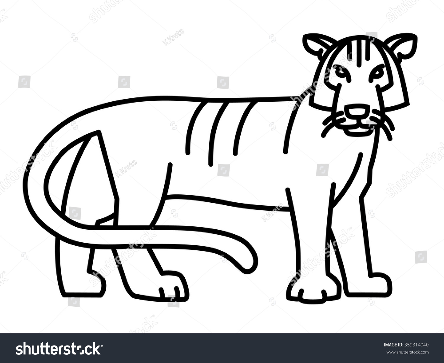 Tiger Line Drawing Easy : Tiger simple geometric line art illustration stock vector