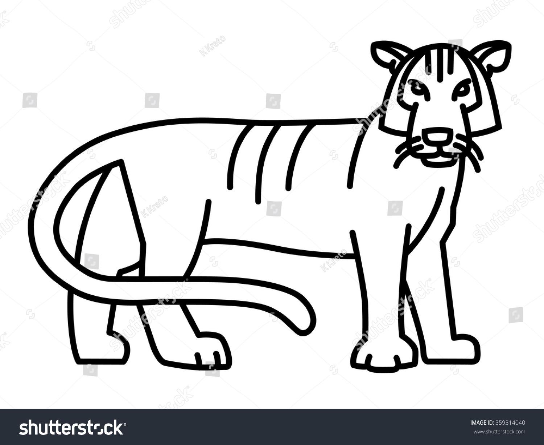 Line Drawing Tiger : Tiger simple geometric line art illustration stock vector