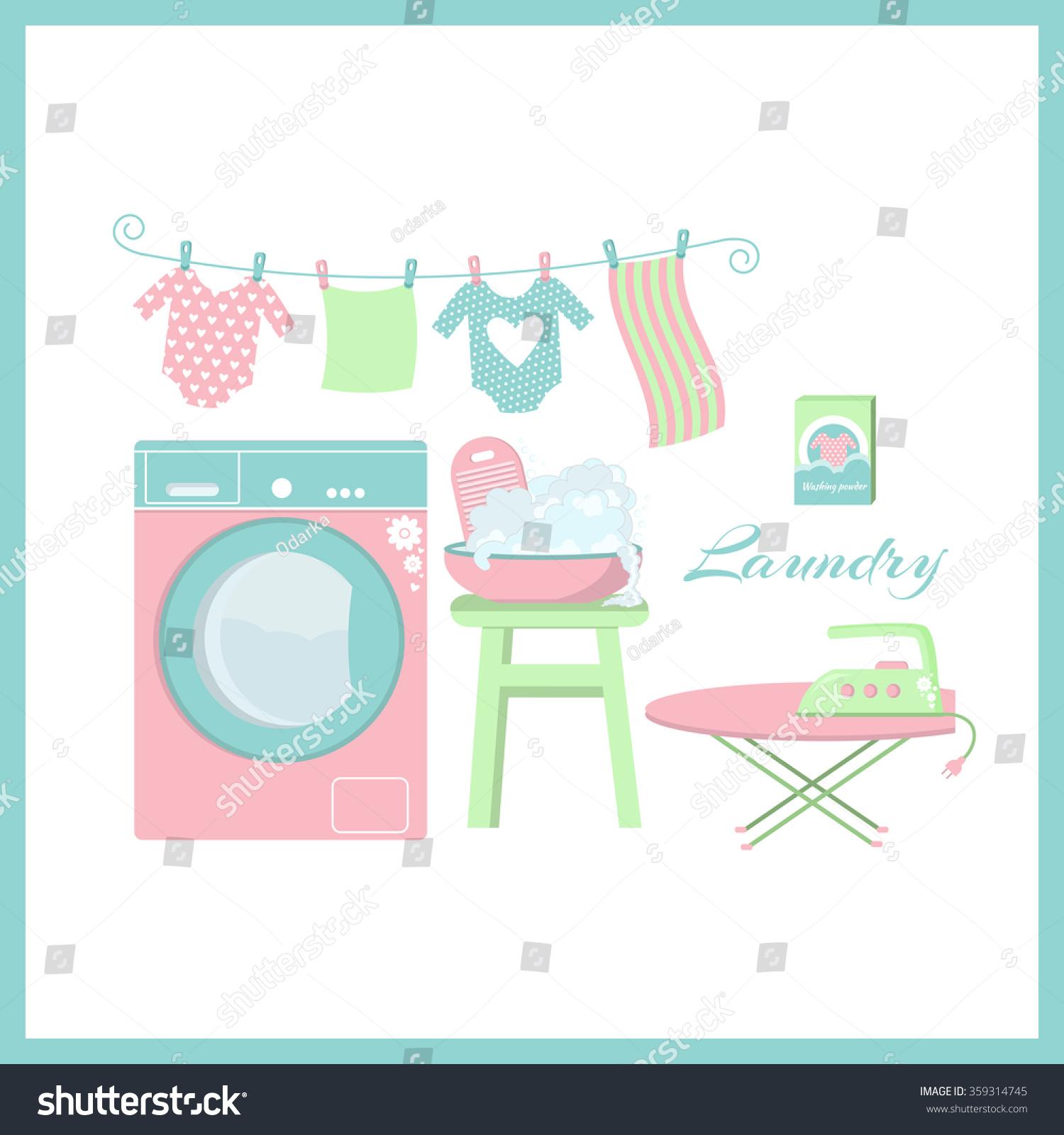 Cute Laundry Pattern Set Laundry Symbols Stock Vector Royalty Free