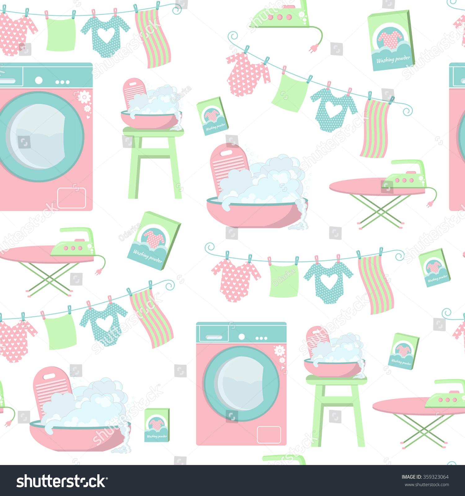 Seamless laundry pattern set laundry symbols stock vector set of laundry symbols washing machine laundry drying on a biocorpaavc Image collections