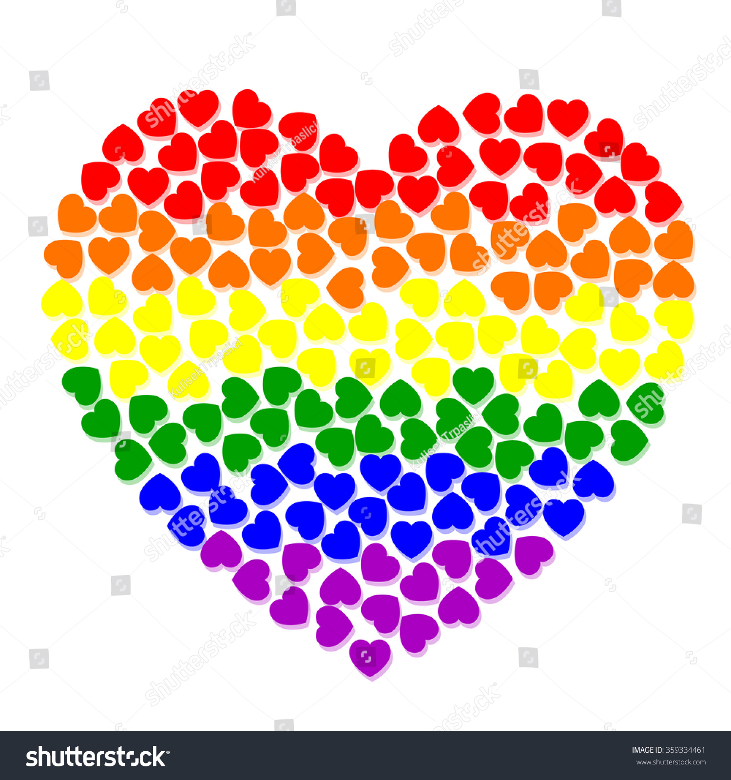 Rainbow Colorful Heart Small Colored Hearts Stock Vector 359334461 ...
