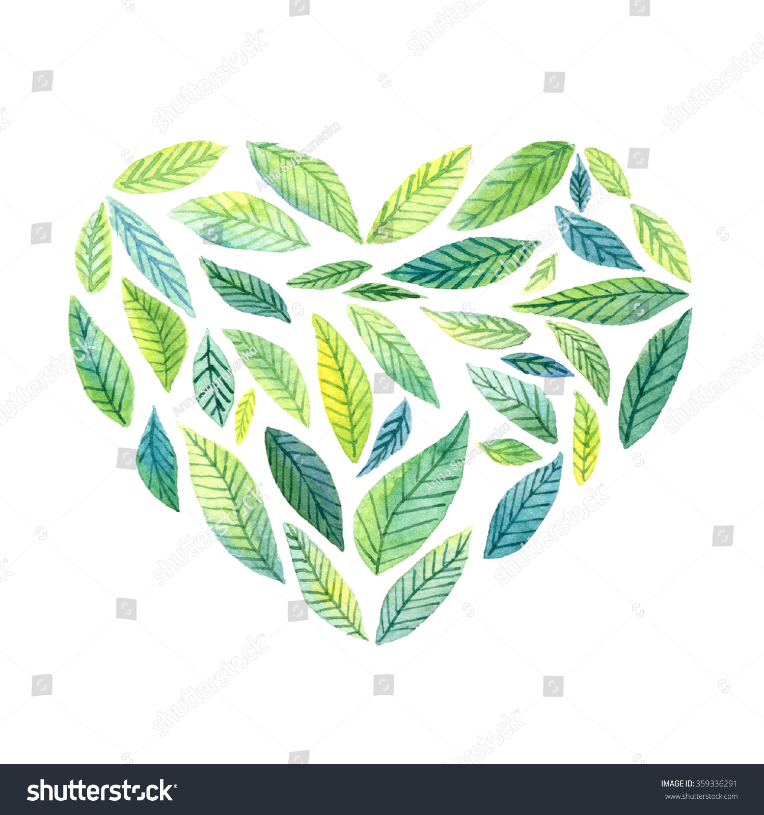 Hand Drawn Heart Green Leaves Watercolor Stock Illustration ...