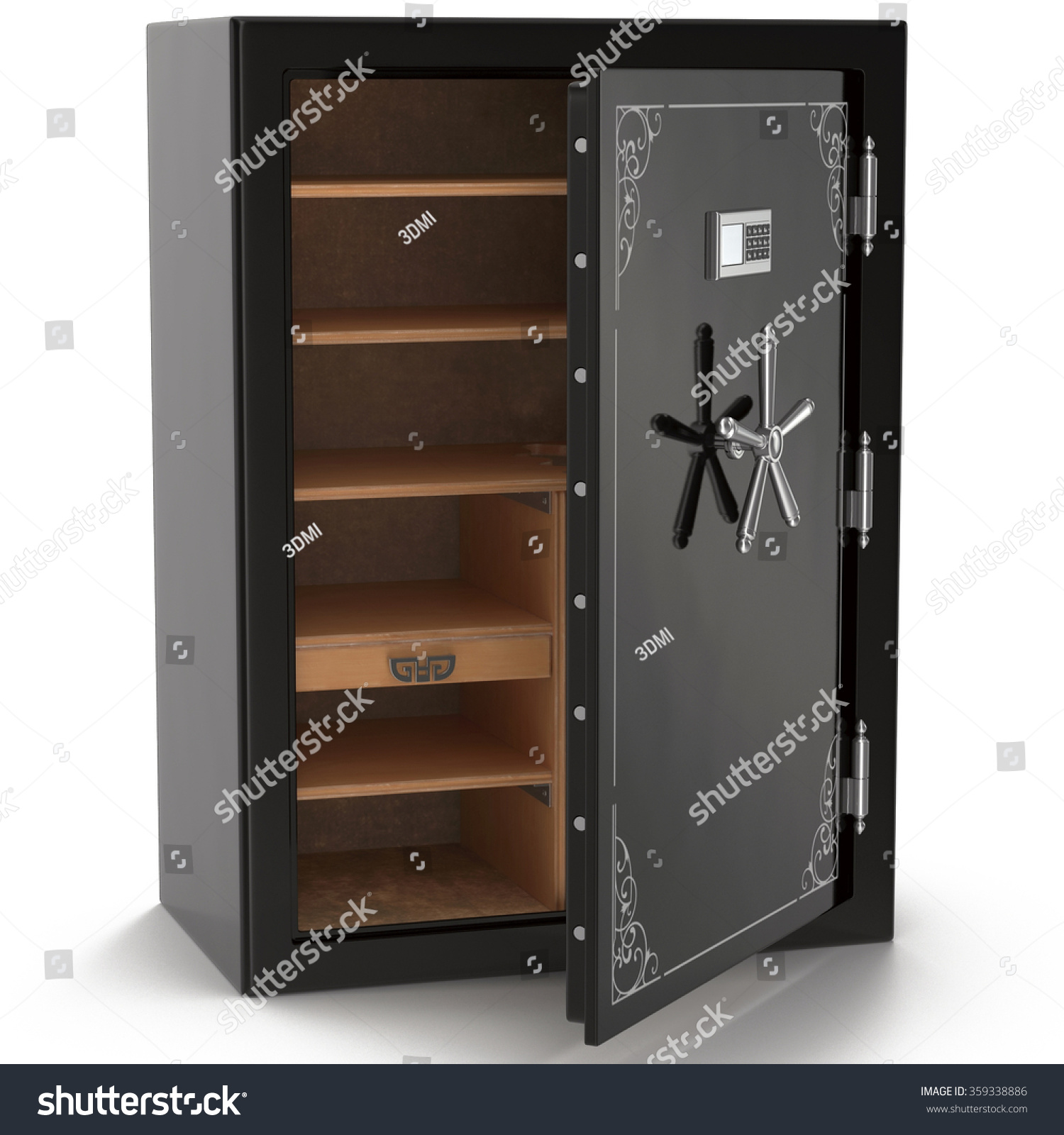 Stock On Gun Cabinet Gun Safe On White Background Stock Illustration 359338886