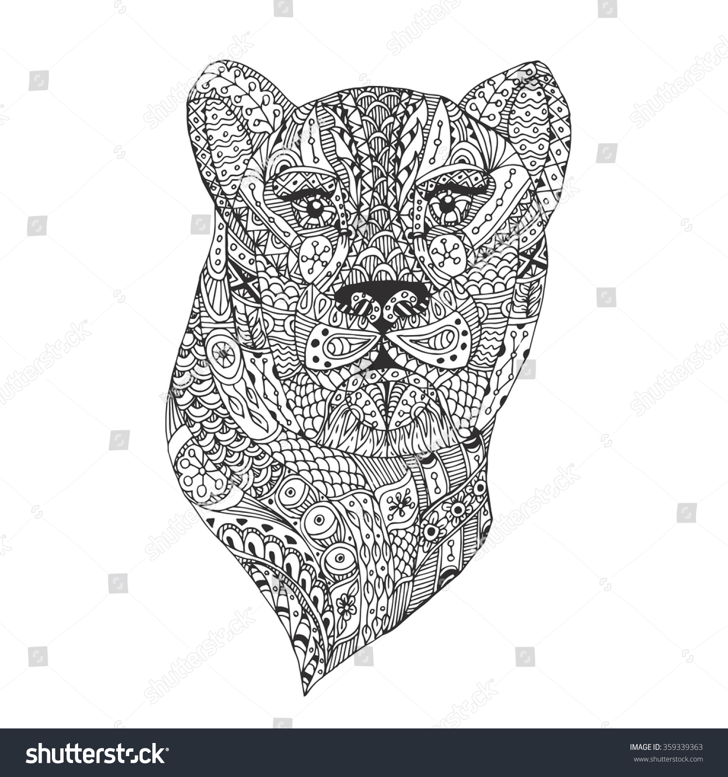 handdrawn leopard ethnic floral pattern coloring stock vector