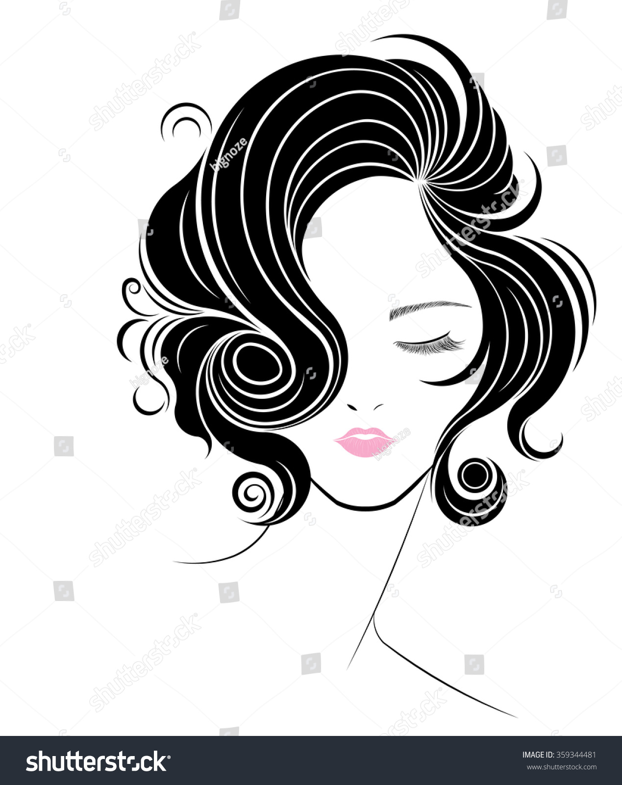 vector hair style stock hair style icon logo on white background 6515 | stock vector short hair style icon logo women face on white background vector 359344481