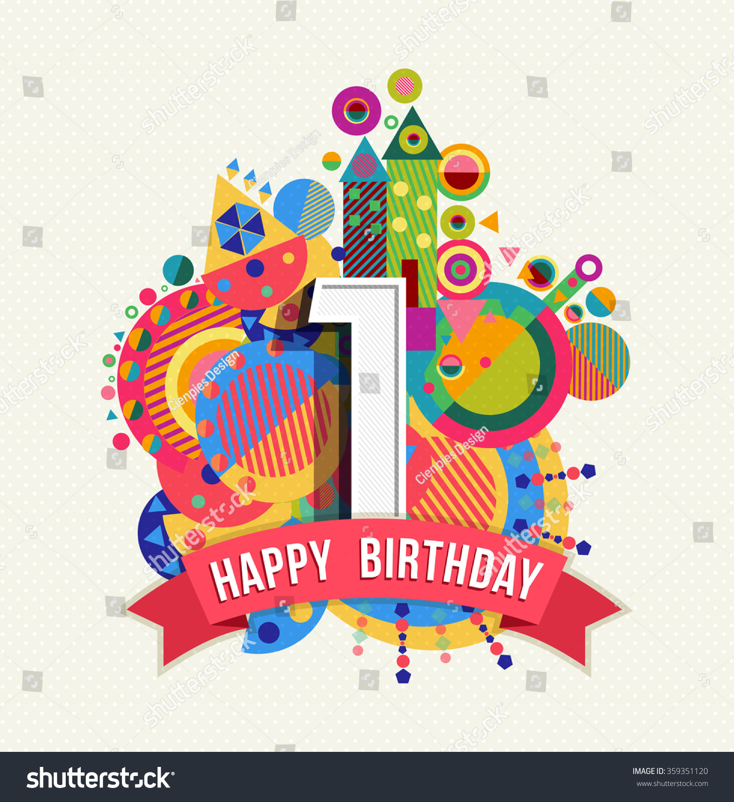 Happy Birthday One 1 Year Fun Design With Number Text Happy Birthday Wishes For One Year