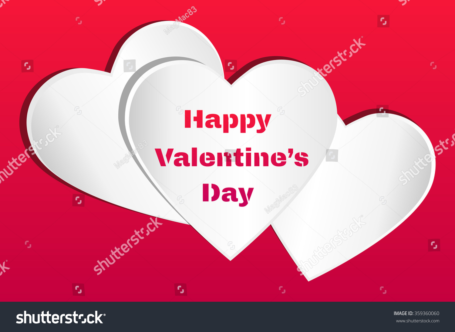 Valentines card three white hearts happy stock vector 359360060 valentines card three white hearts with happy valentine s day text on a red kristyandbryce Images