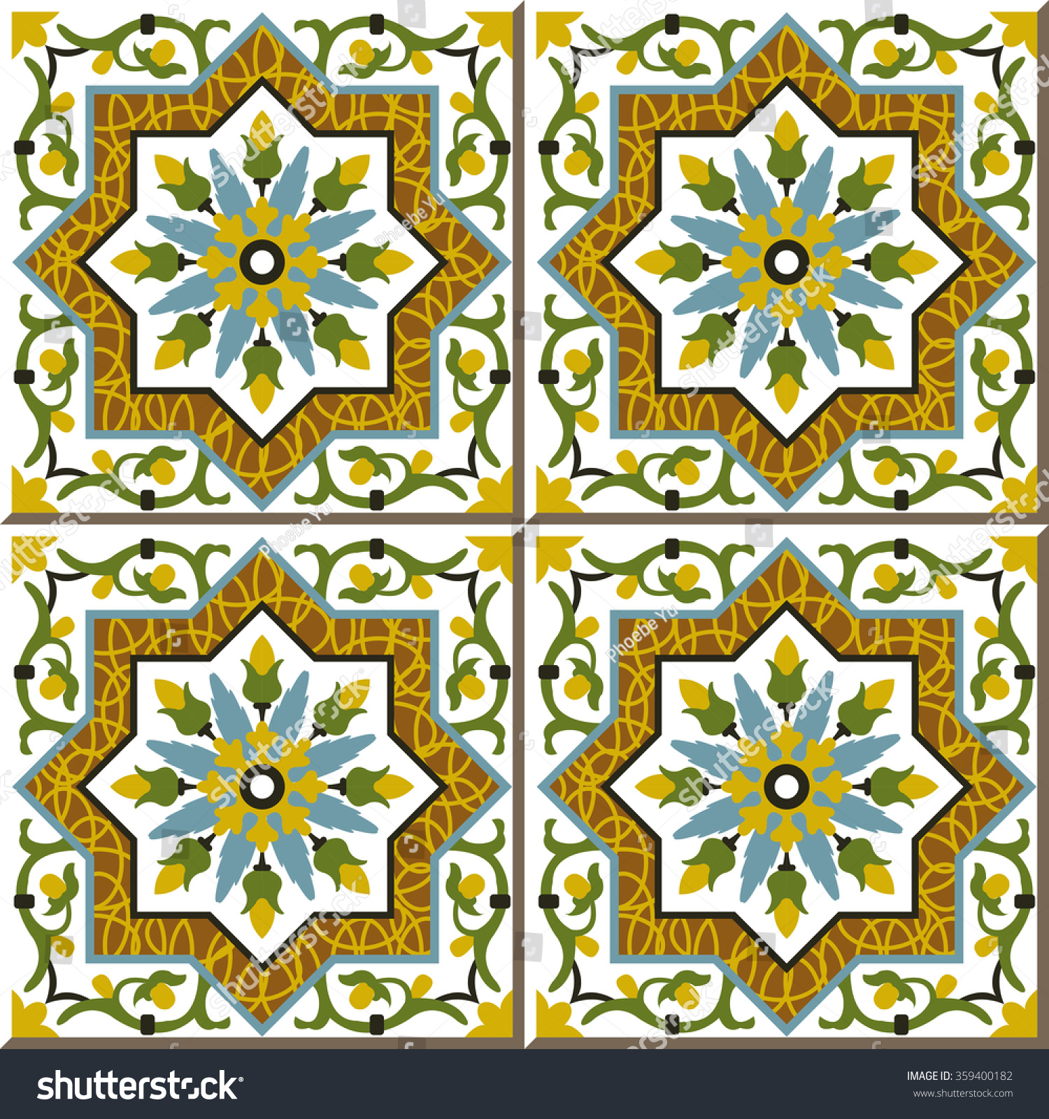 Vintage Seamless Wall Tiles Spiral Vine Stock Vector (Royalty Free ...