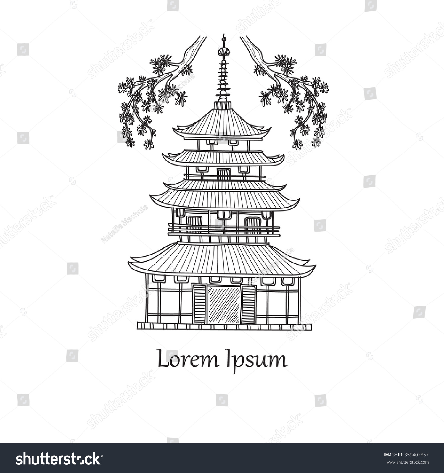 Japanese related hand drawn icon of pagoda Doodle Vector