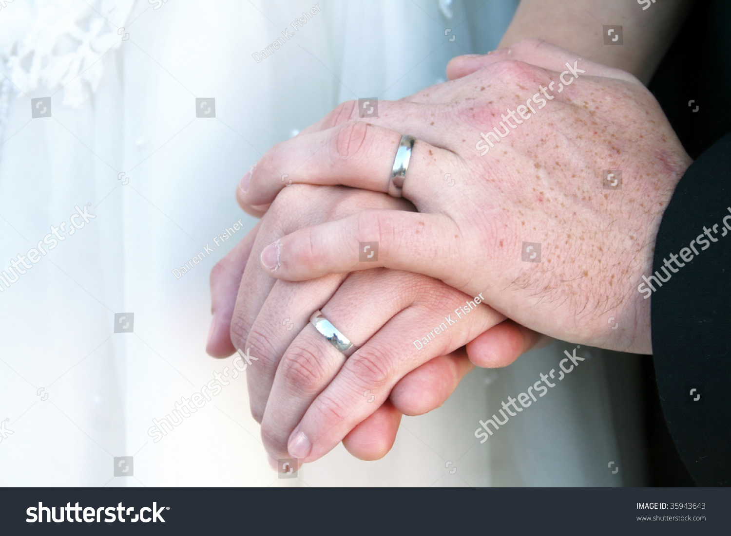 Newlywed Couples Hands Wedding Rings Used Stock Photo (Edit Now ...