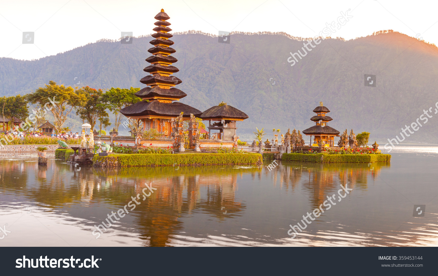 Hindu procession in Ulun Danu temple Beratan Lake in Bali Indonesia