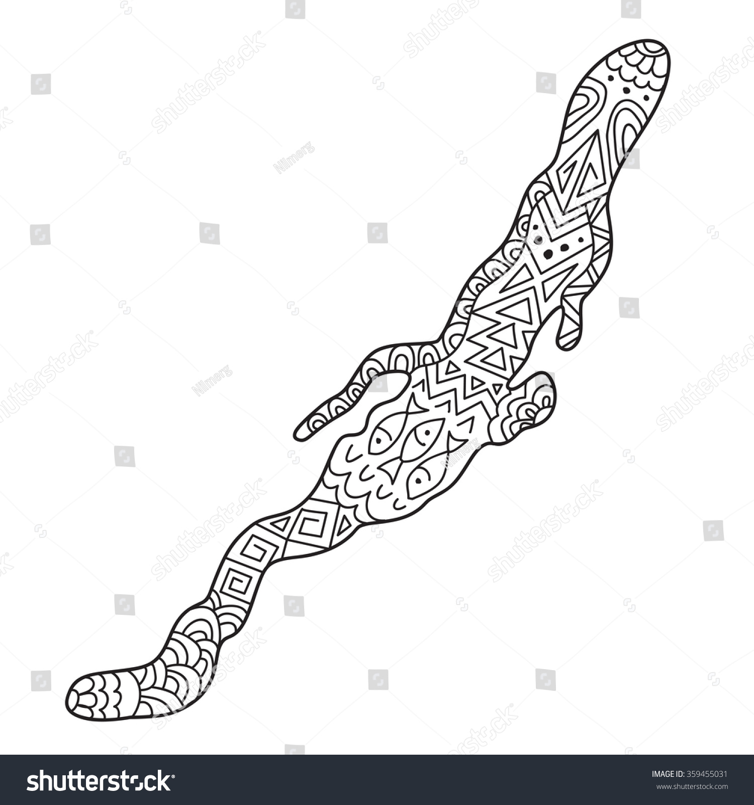 zentangle contour lake baikal anti stock vector 359455031