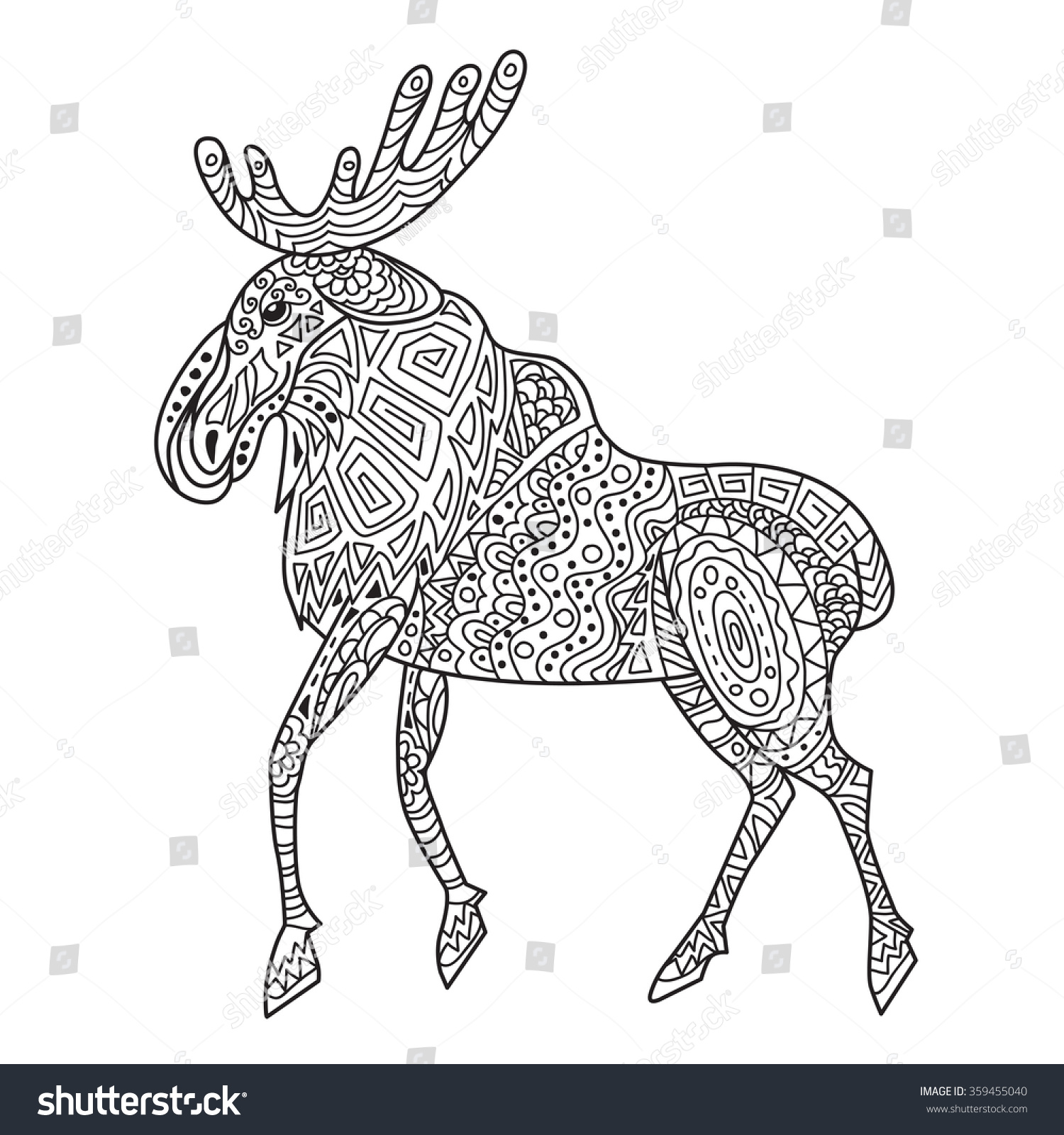 Zentangle Baikal Elk Adult Anti Stress Stock Vector (2018) 359455040 ...