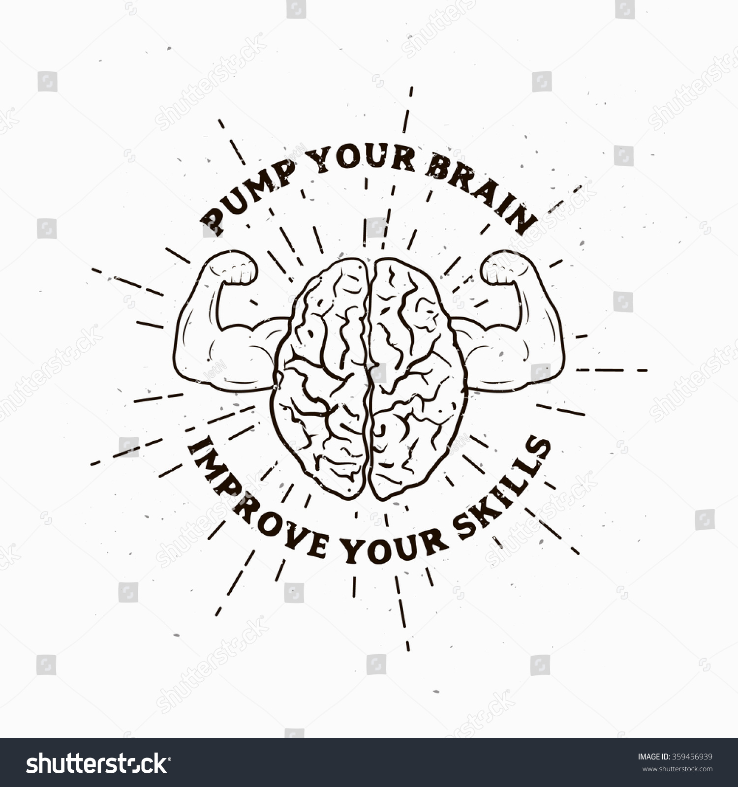 motivational muscle brain illustration vector picture stock vector