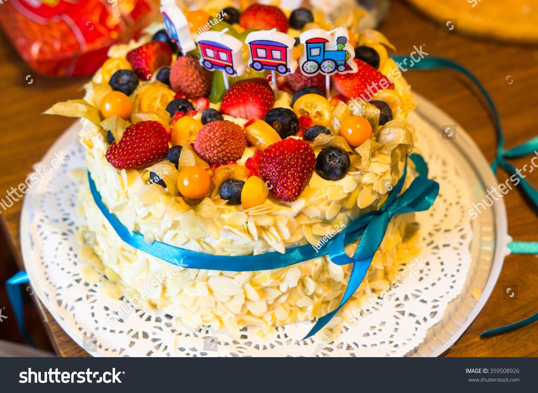 Birthday Cake Fresh Fruit Berries Decorated Stock Photo Edit Now