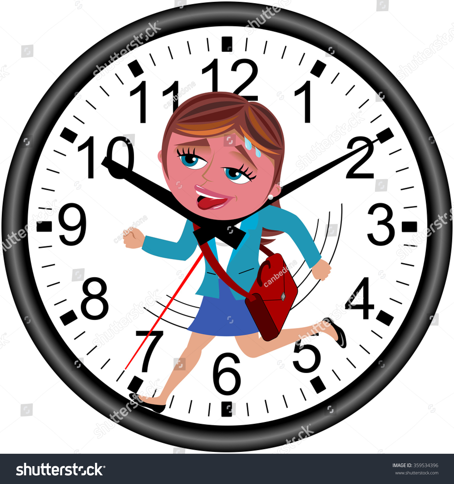 Red faced businesswoman running against time stock vector red faced businesswoman running against time in a wall clock getting strangled by clock hands isolated amipublicfo Image collections