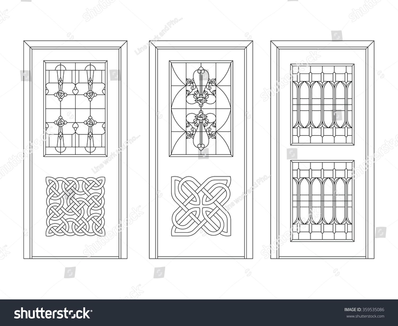 Door vector vintage iron works design stock vector for One side door design