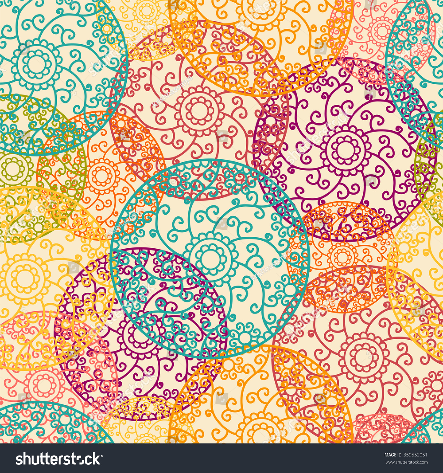 colorful indian henna mandala pattern elaborate stock