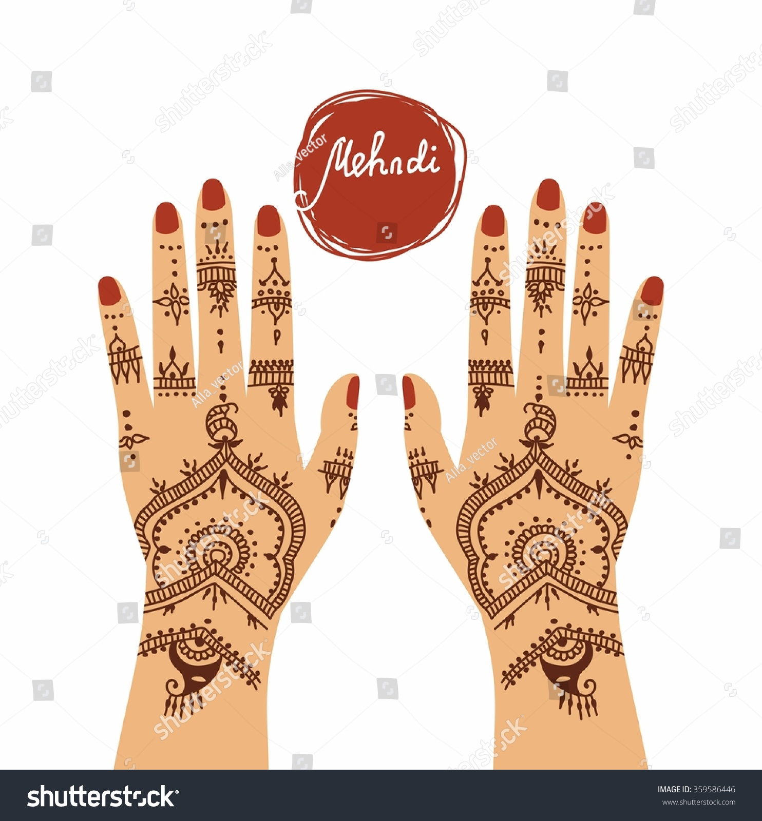 Mehndi Ceremony Clipart : Element yoga mudra hands mehendi patterns stock vector