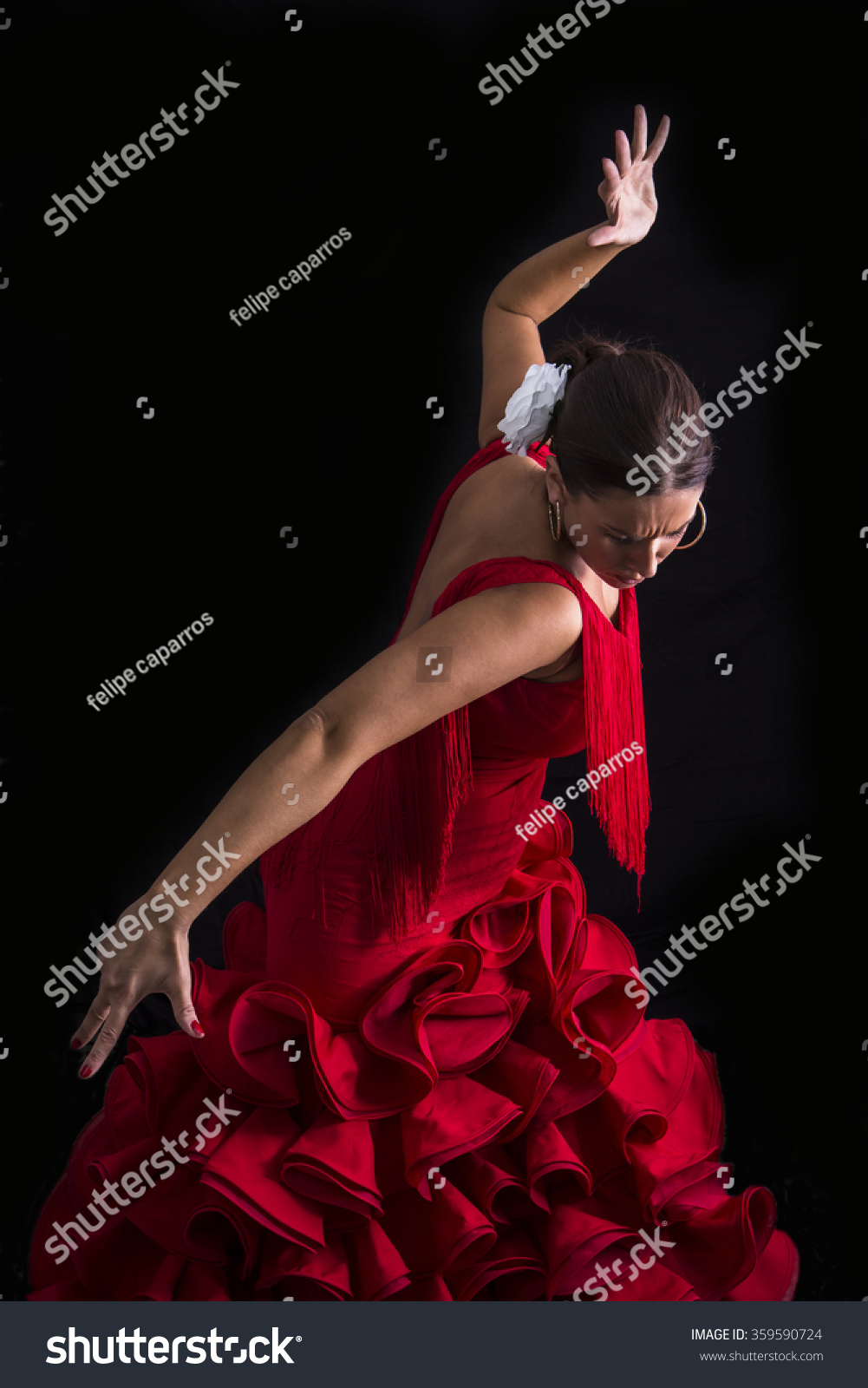 flamenco dancer dressed red expression feeling stock photo