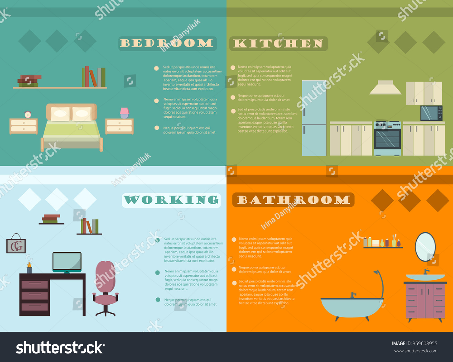 Set Of Elements To Interior Design InfographicsDesign Conceptual Backgrounds With Icons And Infographic