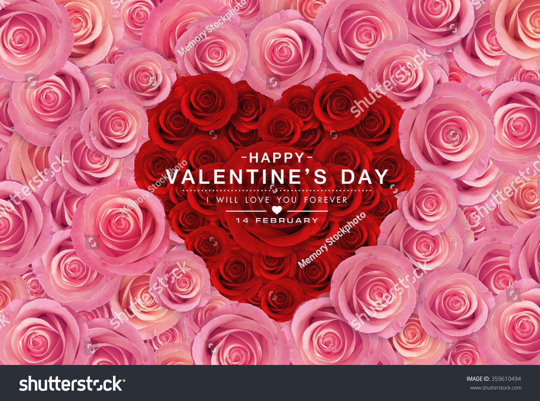 Pink Roses Flower Background Happy Valentine Stock Illustration