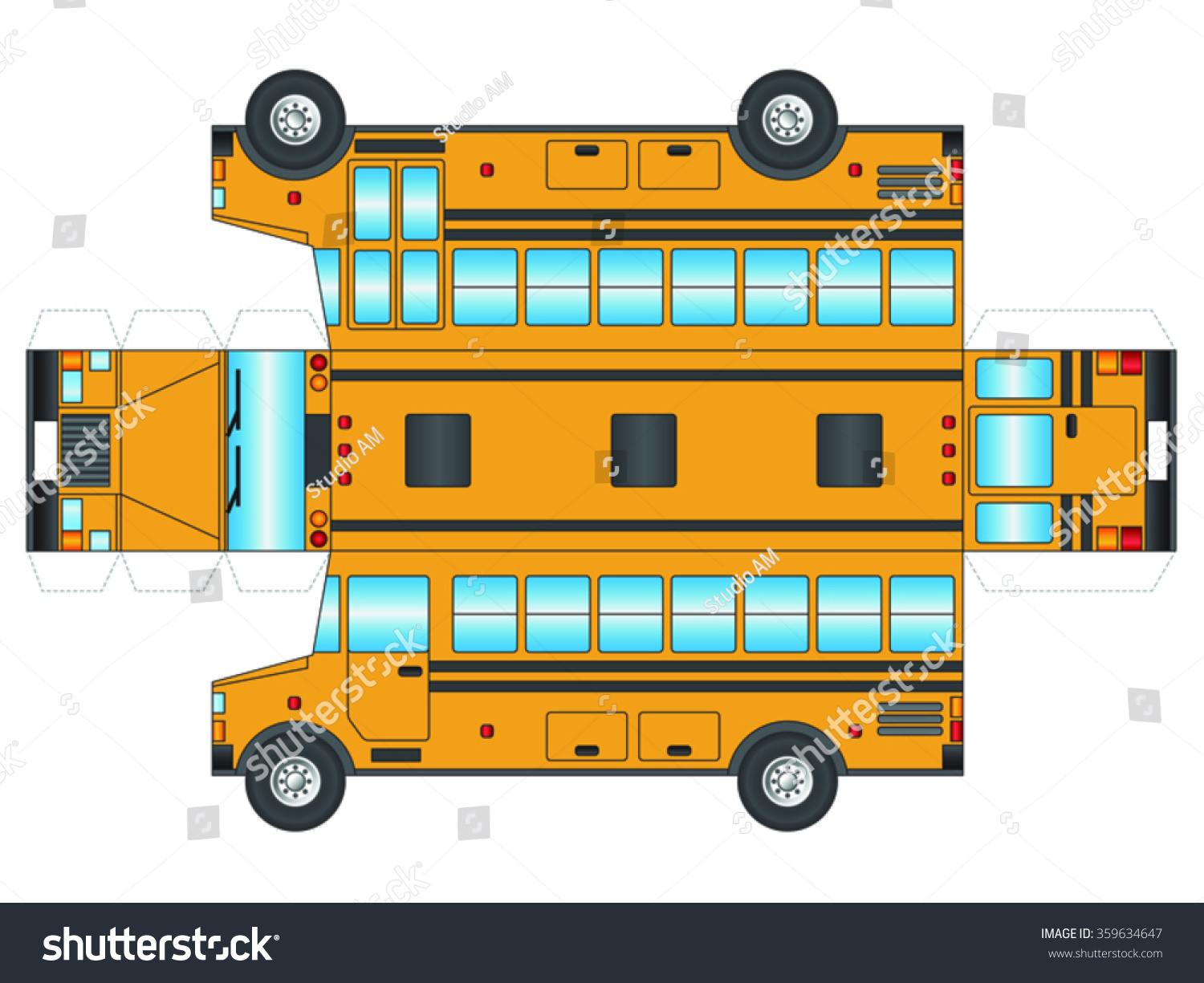 School Bus Outline Cut Out Glue Stock Vector 359634647 - Shutterstock