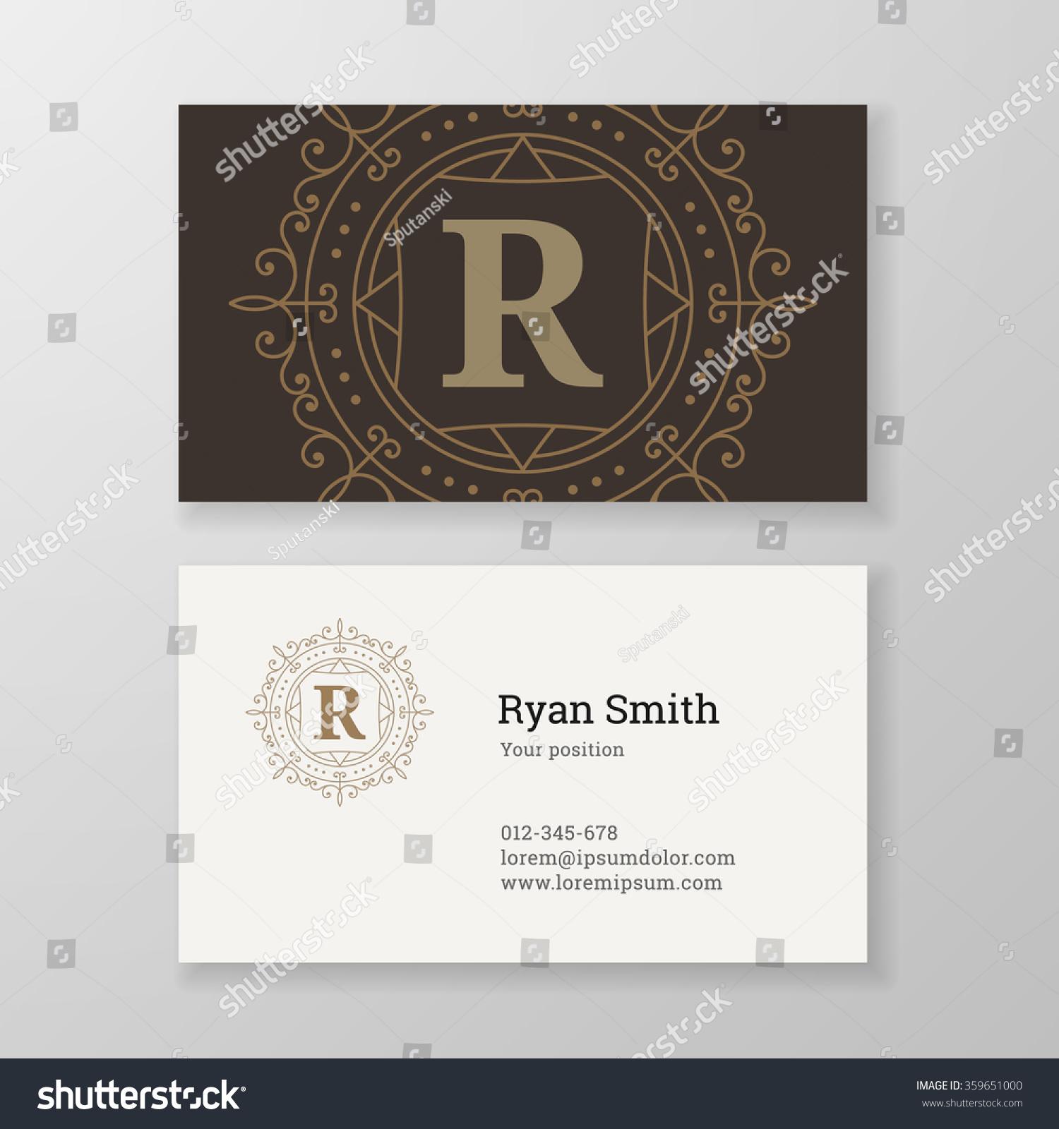 Business Card Monogram Emblem Letter R Stock Vector HD (Royalty Free ...