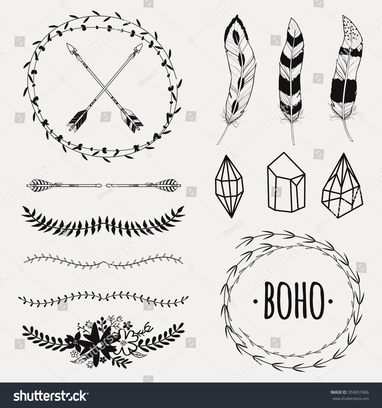 d516b4367c3 Royalty-free Vector monochrome ethnic set with…  359651966 Stock ...