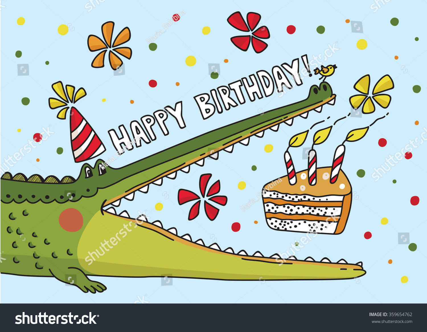 HAPPY BIRTHDAY ALLIGATORS Stock-vector-vector-illustration-with-cute-crocodile-birthday-card-359654762
