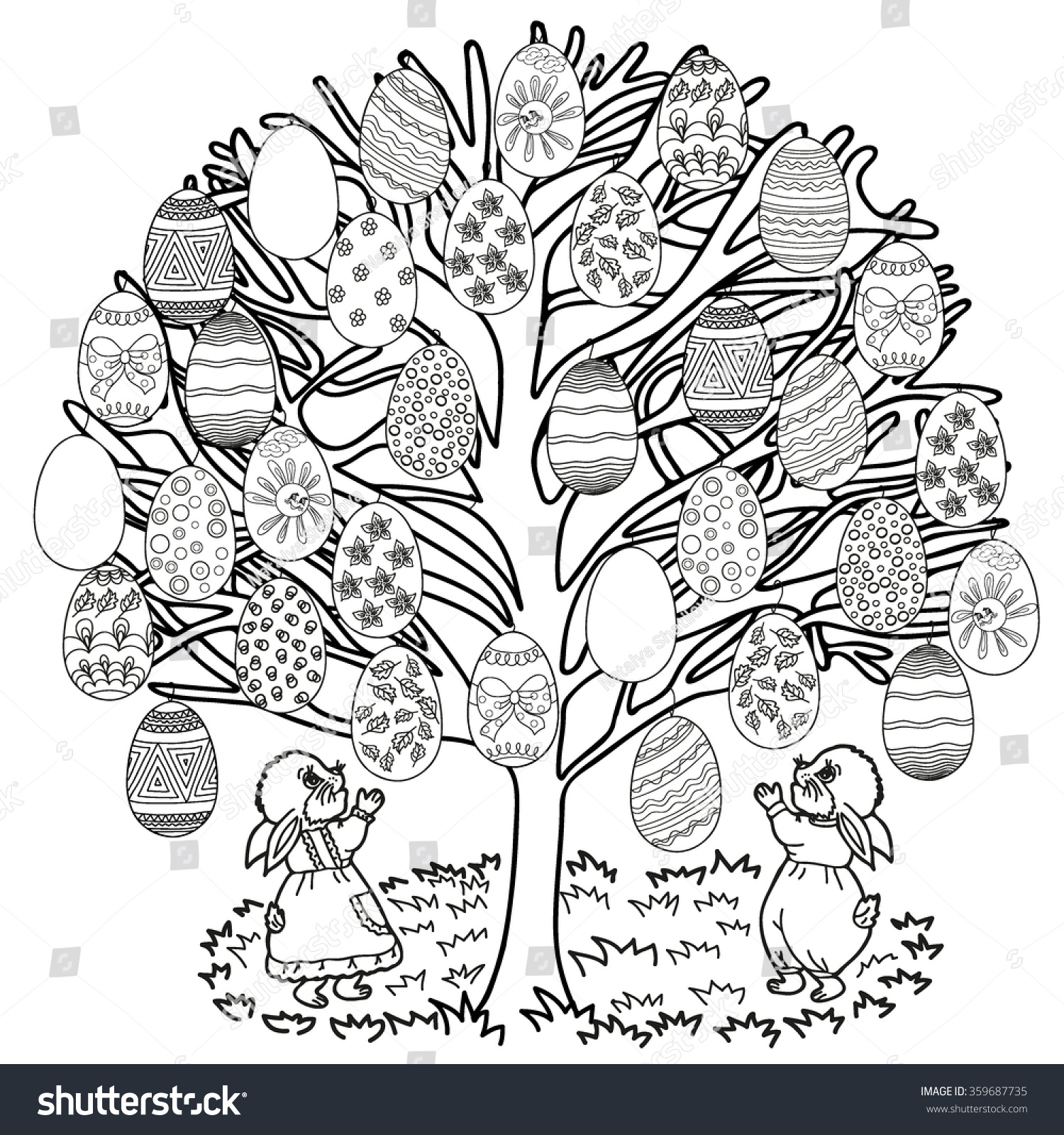 coloring book hand drawn adults children stock vector 359687735