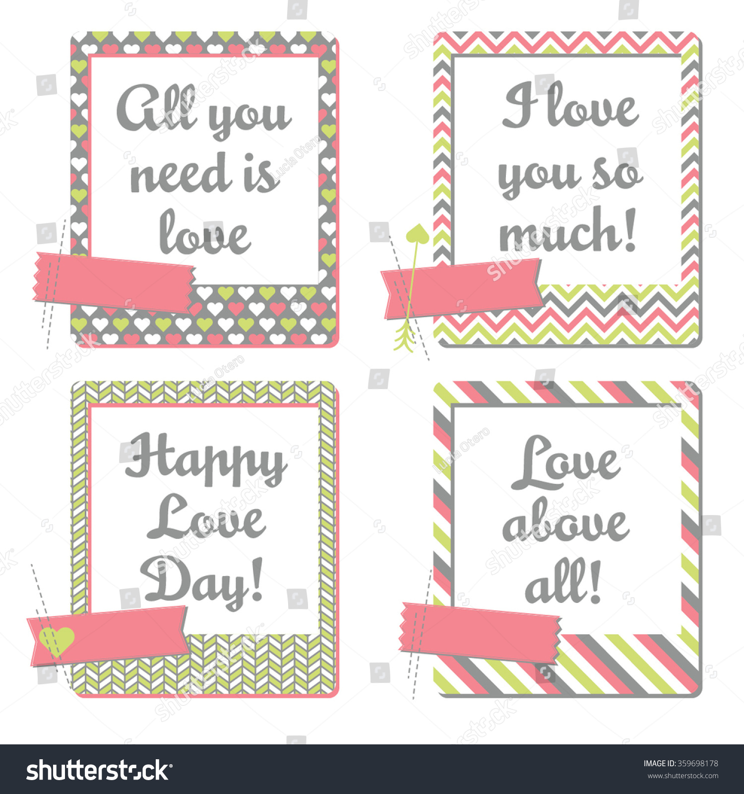 Valentines Day Greeting Cards Set Instant Stock Vector Royalty Free