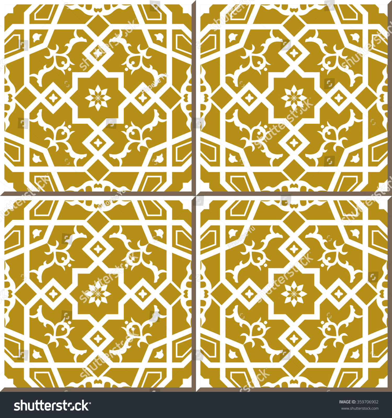 Vintage Seamless Wall Tiles Cross Polygon Stock Vector HD (Royalty ...