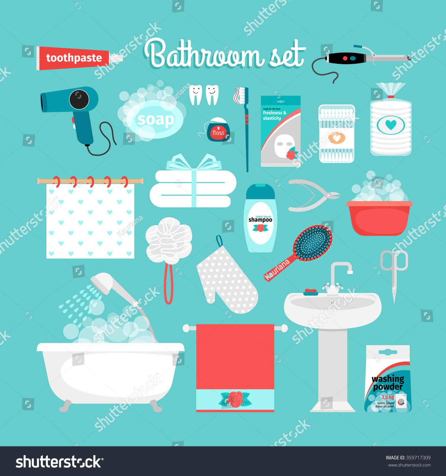 Royalty Free Stock Illustration of Big Set Objects Bathroom Bathtub ...