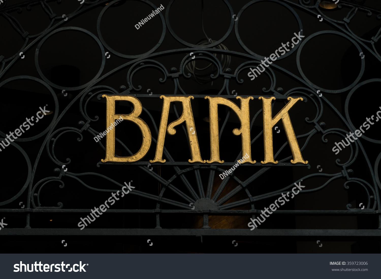 Design Vintage Bank.Golden Vintage Bank Sign Stock Photo Edit Now 359723006 Shutterstock
