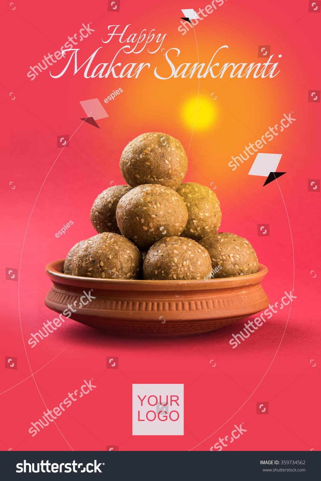 Happy makar sankranti greeting card using stock photo edit now happy makar sankranti greeting card using sweet sesame or tilgul laddu in a bowl with huldi m4hsunfo