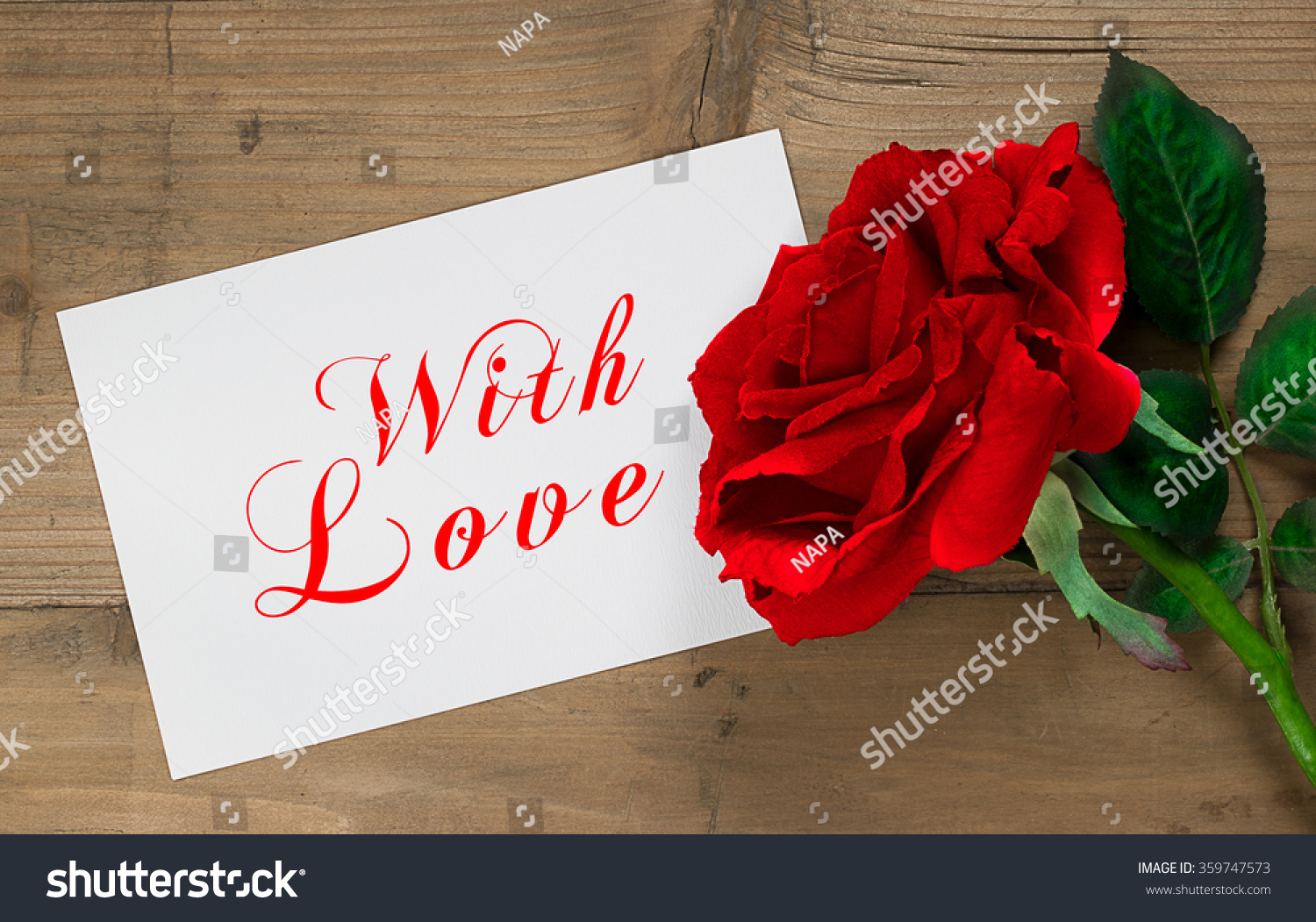 Royalty Free Love Message Text Card With Red Rose On 359747573