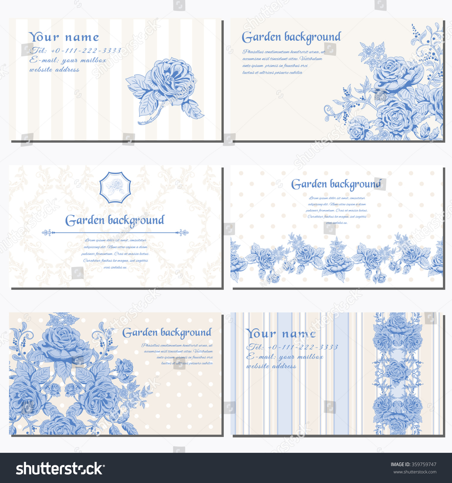 Set Six Horizontal Business Cards Delicate Stock Vector 359759747 ...