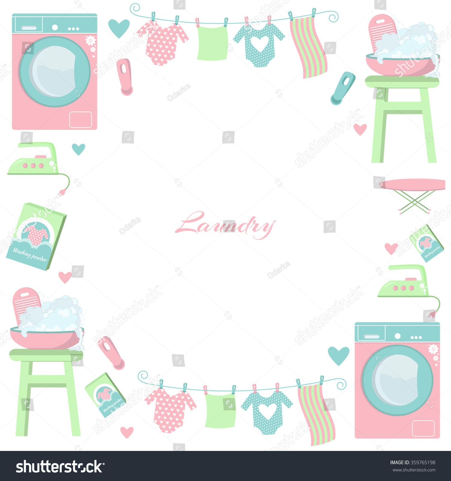Laundry Frame Circle Laundry Frame Set Laundry Symbols Stock Vector 359765198