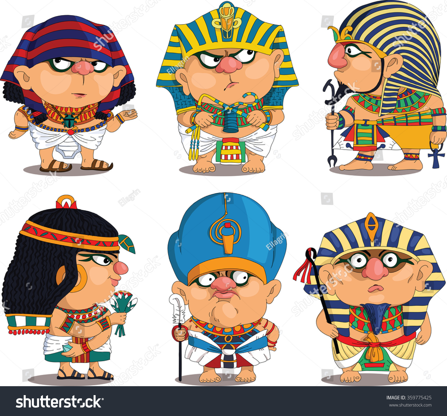 Funny Pictures About Egypt: Cartoon Vector Set Funny Egyptian Pharaohs Stock Vector