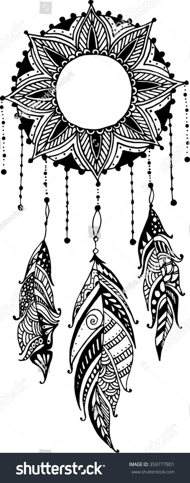 Handdrawn Sun Mandala Dreamcatcher Feathers Ethnic Stock