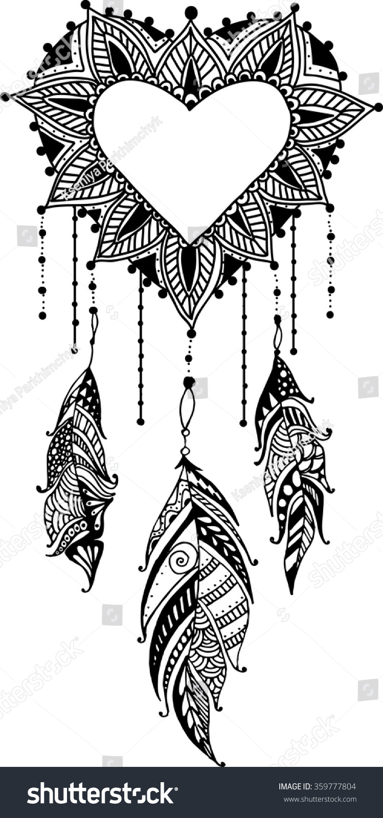 Handdrawn Heart Mandala Dreamcatcher Feathers Ethnic Stock