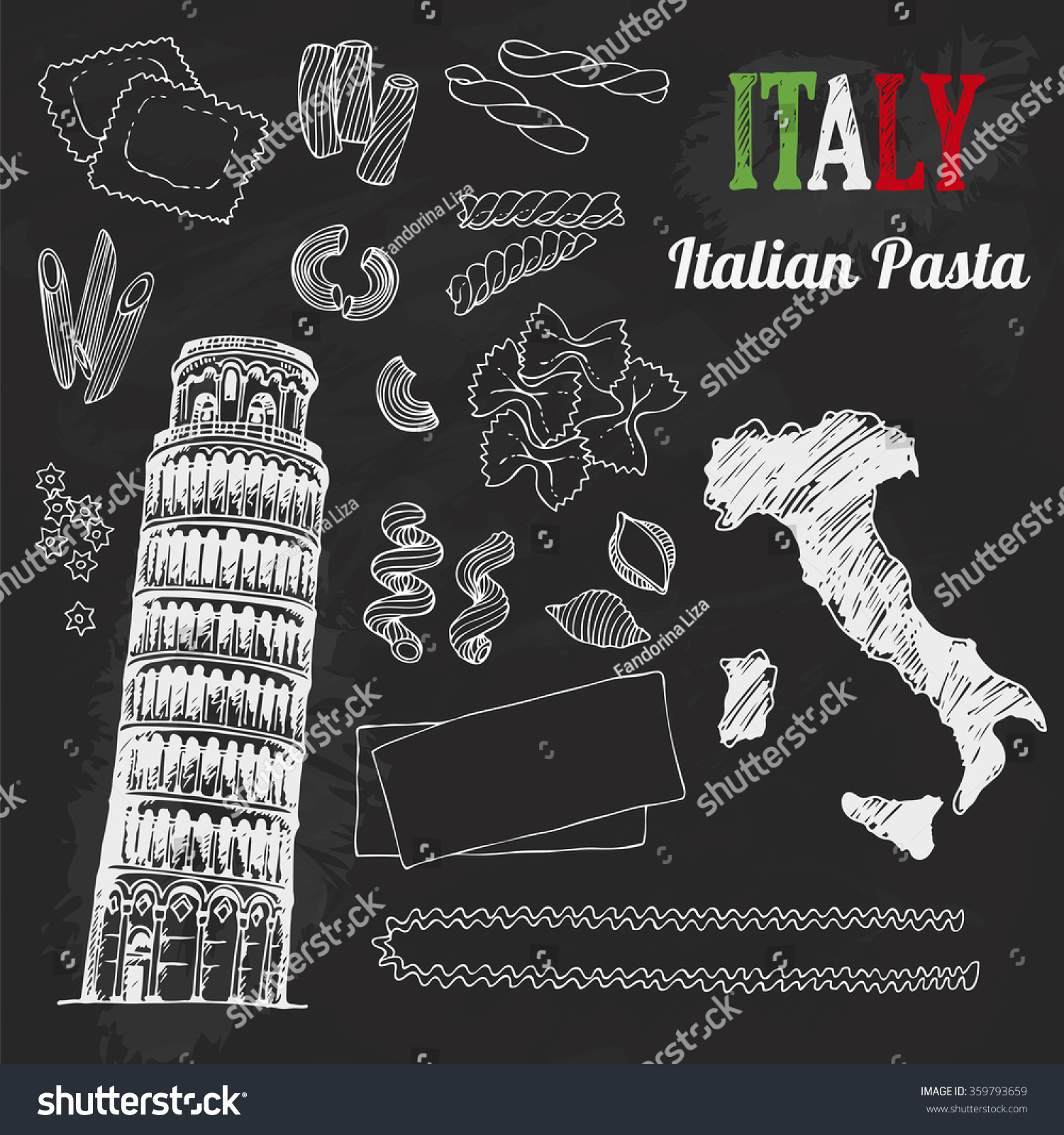 Italian Restaurant Near Me: Italy Set Food Collection Hand Drawn Stock Vector