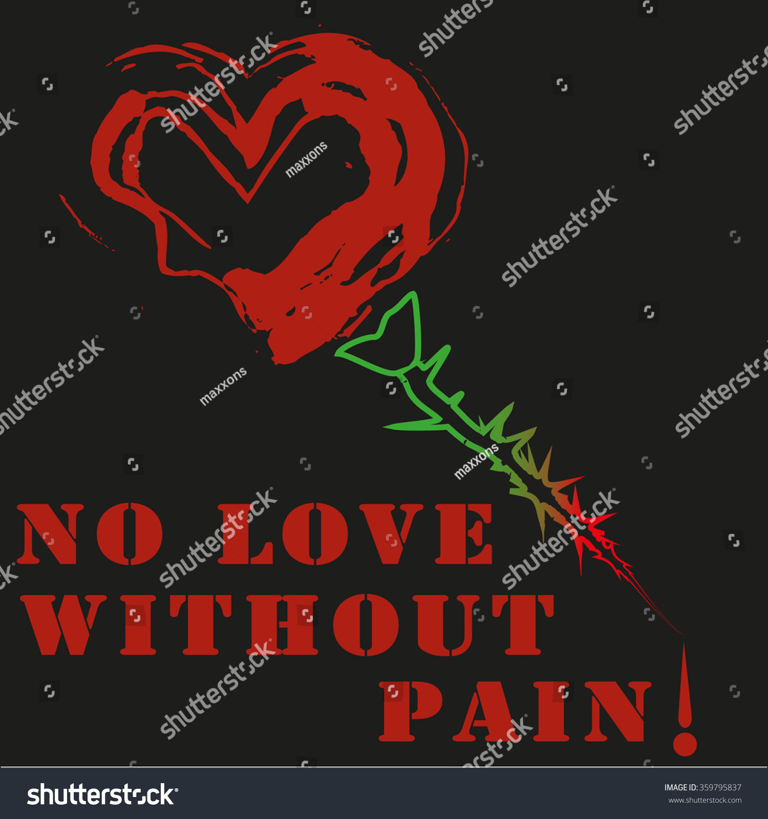 No Love Without Pain Rose Heart Stock Vector Royalty Free