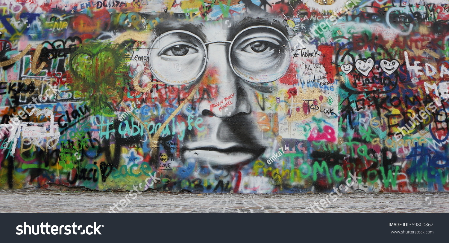 Prague czech republic january 05 the lennon wall since the 1980s is filled