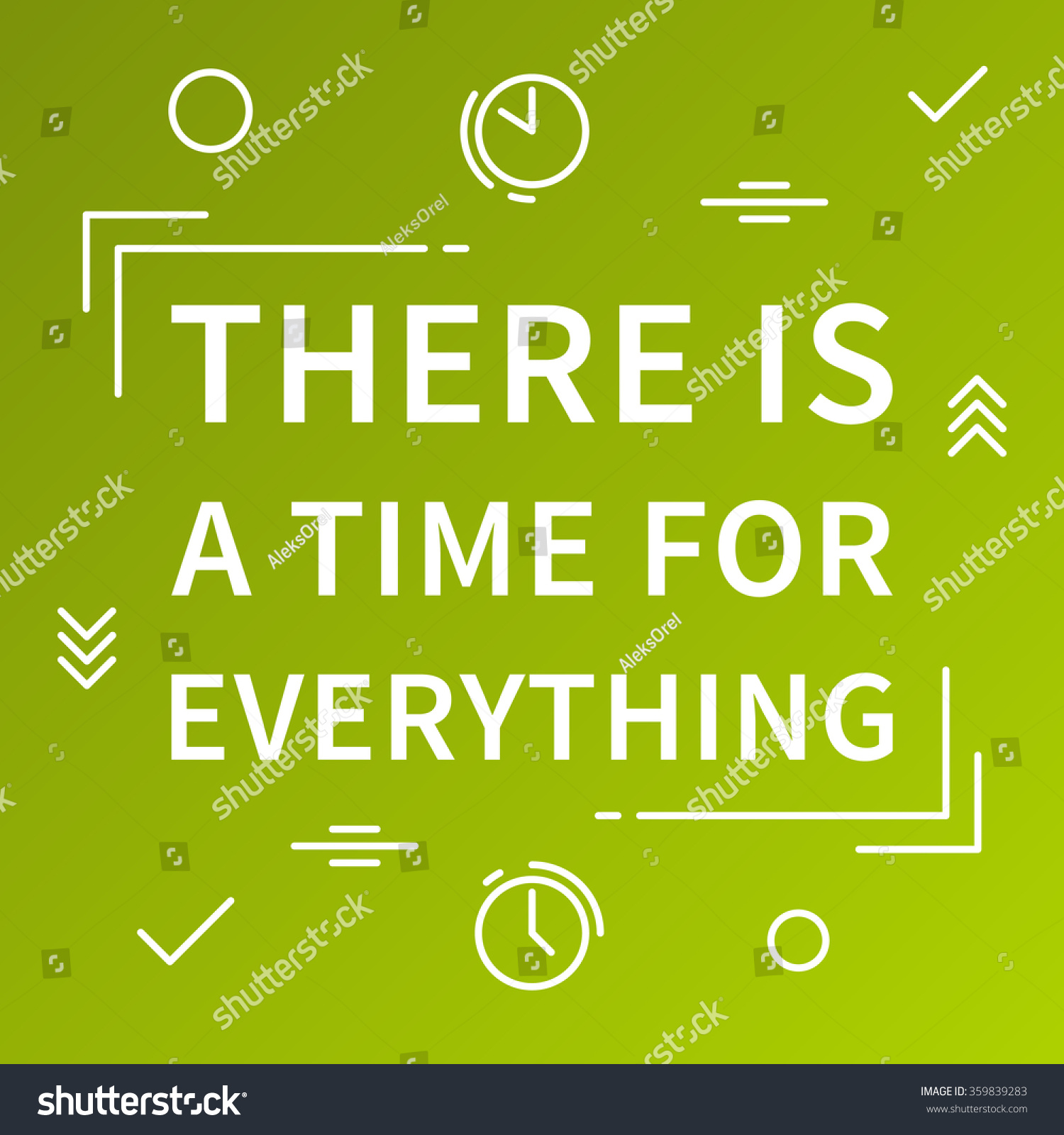 There Time Everything Inspirational Phrase Motivational Stock Vector