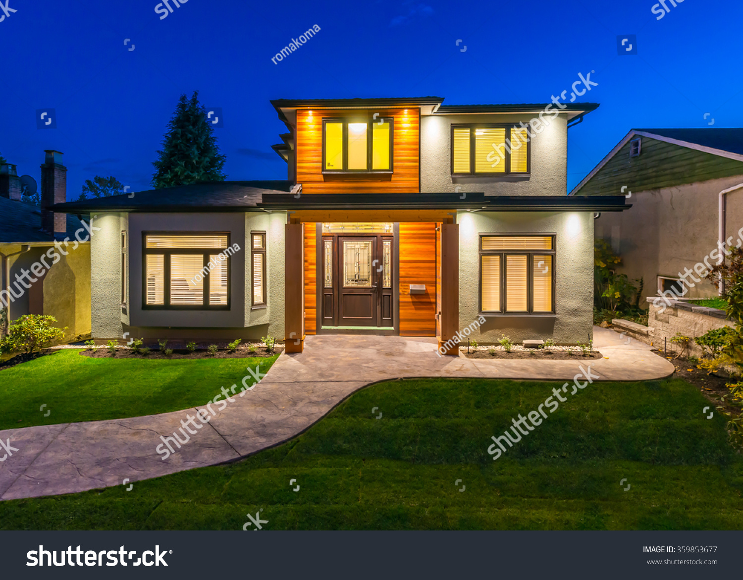 Big luxury modern house dusk night stock photo 359853677 for Modern house at night