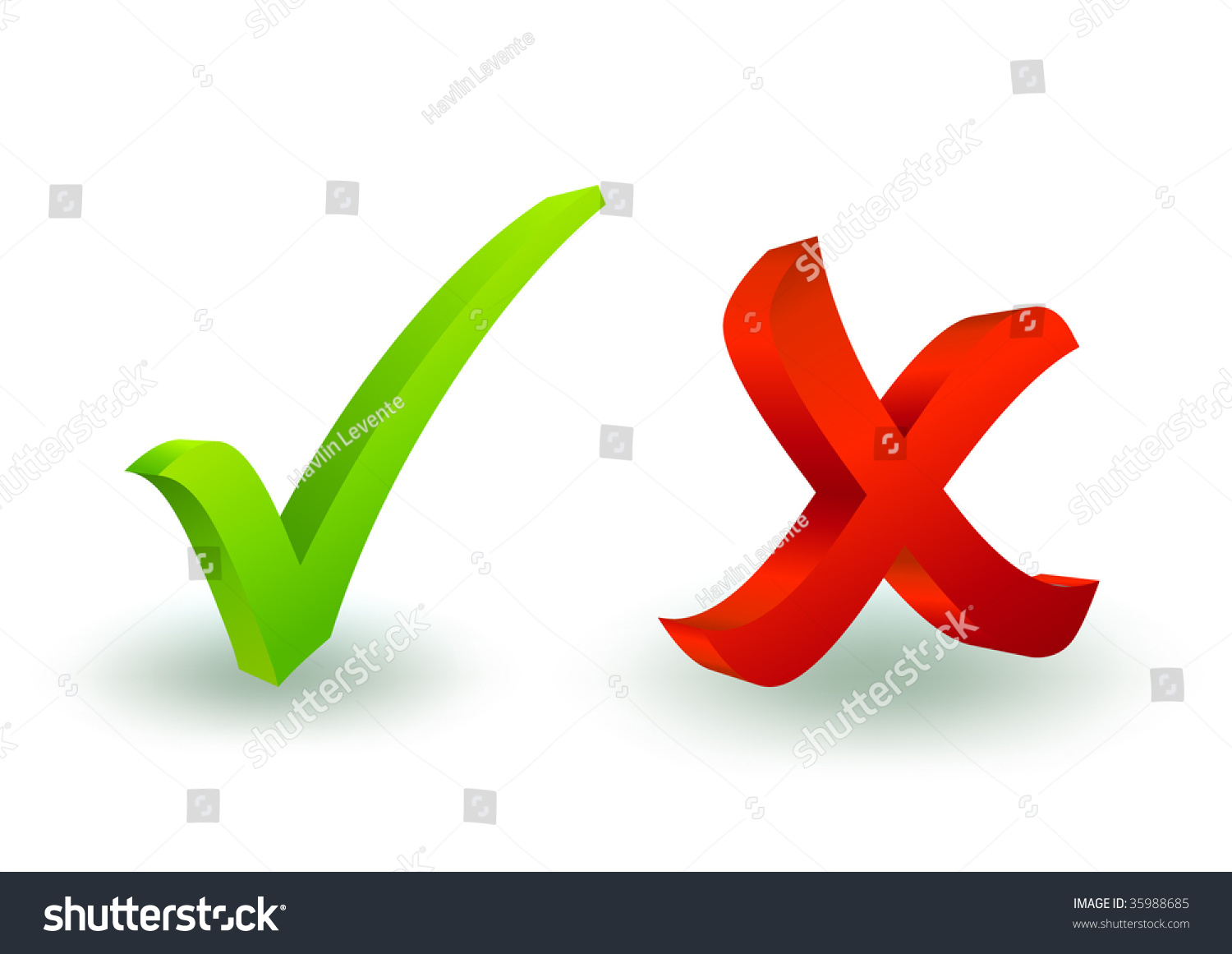 3d Check And X Symbol Stock Vector Illustration 35988685